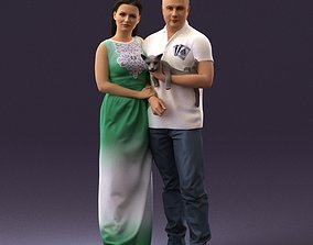 3D 001050 man and woman of moddle age with cat