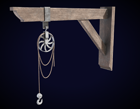 Old Warehouse Pulley 3D model