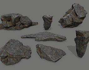 3D model game-ready canyon cliff rocks