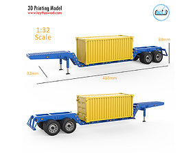 Heavy Trailer With Container 3D Printing Model