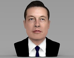 Elon Musk bust ready for full color 3D printing
