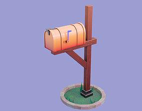 3D asset Stylized American Mailbox