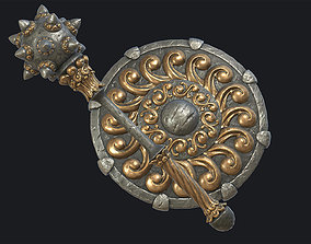 3D asset Fantasy Morgenstern and Round Shield