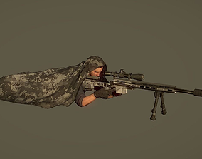 Lowpoly Sniper Character with Rifle 3D model