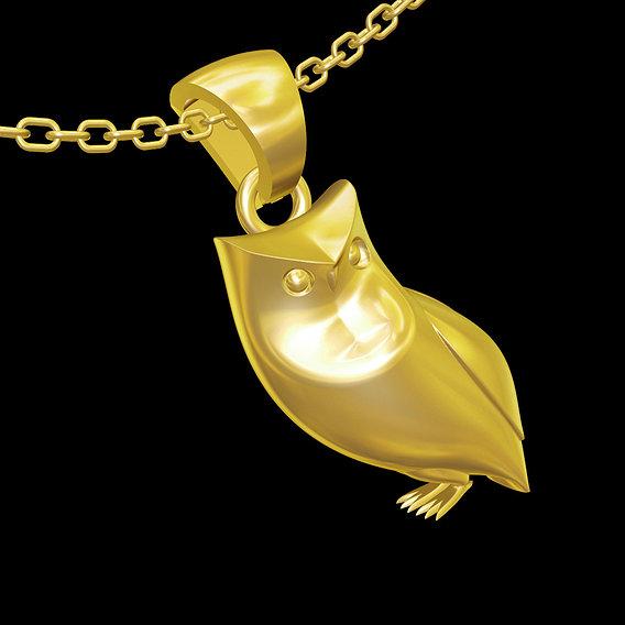Owl Figure Sculpture pendant jewelry gold necklace 3D print model