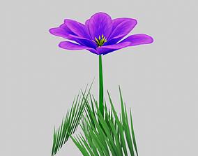 3D asset Stylized Purple Flower
