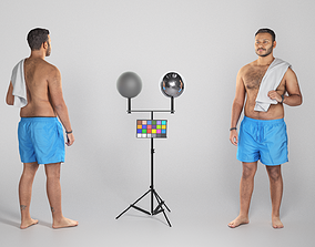 Shirtless man with white towel standing 231 3D model