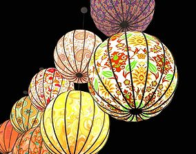 Round paper lanterns 3D