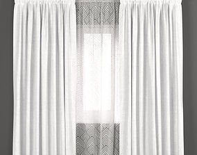 Bright curtains with tulle 3D