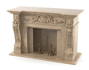 Classical Style Marble Fireplace rococo 3D model