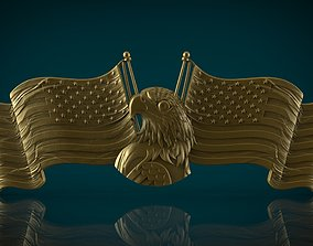 American Flags and Eagle 3D print model