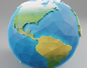 Low Poly Earth globe 3D model