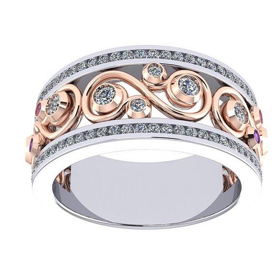 ROSE & WHITE MODERN RING