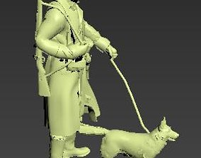 3D printable model German soldier with dog WWII