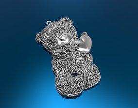 3D printable model platinium bear pendant