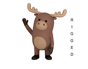 3D model Rigged Cartoon Moose
