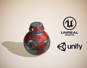 3D asset Sci-Fi Droid -Red-