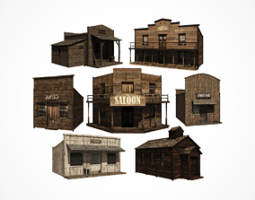 3D model Western town building pack