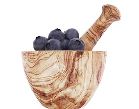Olive wood mortar and pestle with blueberries 3D model