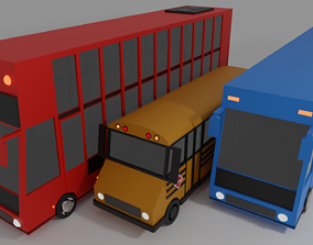 3D model Cartoon Low Poly Bus Vechiles Pack
