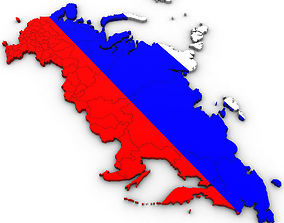 3d Political Map of Russia political