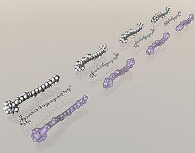 3D model Collection of carotene molecules