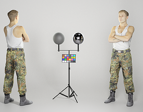 Military young man in white tank top 263 3D model