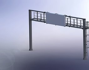 3D model Portal frame and traffic signs