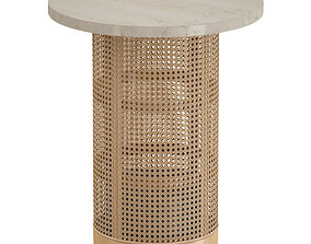 3D model Vernet Travertine Cane End Table Crate and