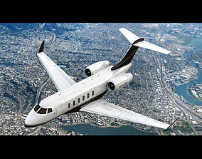 3D model animated Bombardier Challenger 300 Private