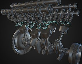 3D v6 Engine Animated