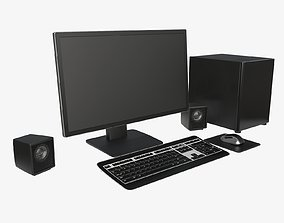 3D model Computer monitor keyboard mouse pad speakers 1