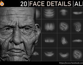 3D model Face Details Alphas