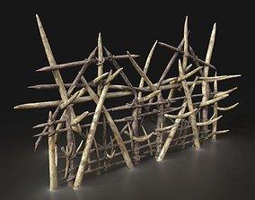 3D model Orcish Barbarian Poacher Big Palisade Walls 4