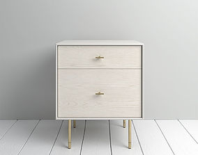 3D model West Elm Modernist Wood Lacquer Nightstand 1