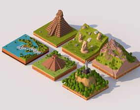 Cartoon Low Poly South America Landmarks 3D model