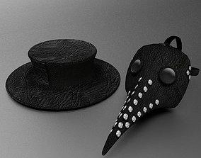 3D model Plague Doctors mask and hat
