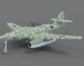 Low Poly Cartoon Messerschmitt Me 262 WWII 3D asset