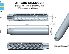 Airgun Silencer superior caliber 177 3D print model