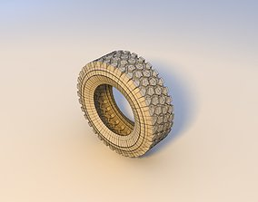 truck tires 3D asset low-poly