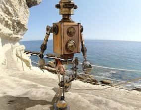 Steampunk robot 3D model game-ready