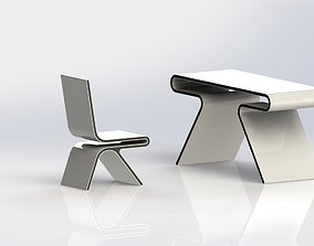 Designer chair and table 3D printable model