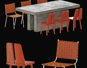 CB2 DINNING TABLE AND CHAIRS 3D