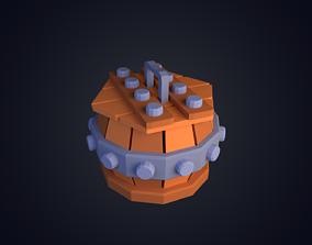 3D asset realtime Barrel Low Poly