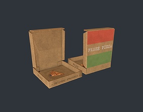 Pizza box with Pizza Slice 3D asset