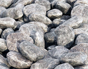 3D Rock stone collection gray
