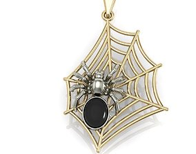 3D printable model pendant spider on the web