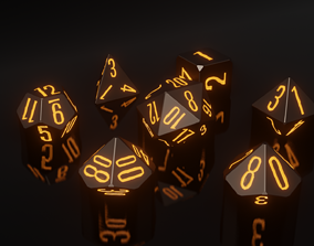 RPG Polyhedral Dice Set Wood Carved 3D printable model