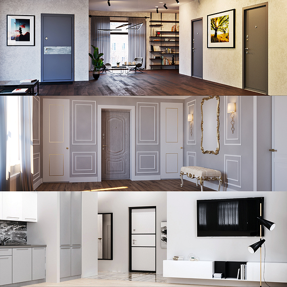 Doors in interiors&exteriors