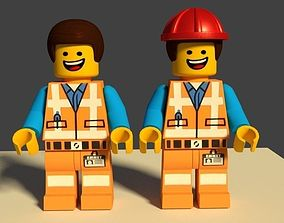 Lego Emmet 3D Model Minifigure game-ready